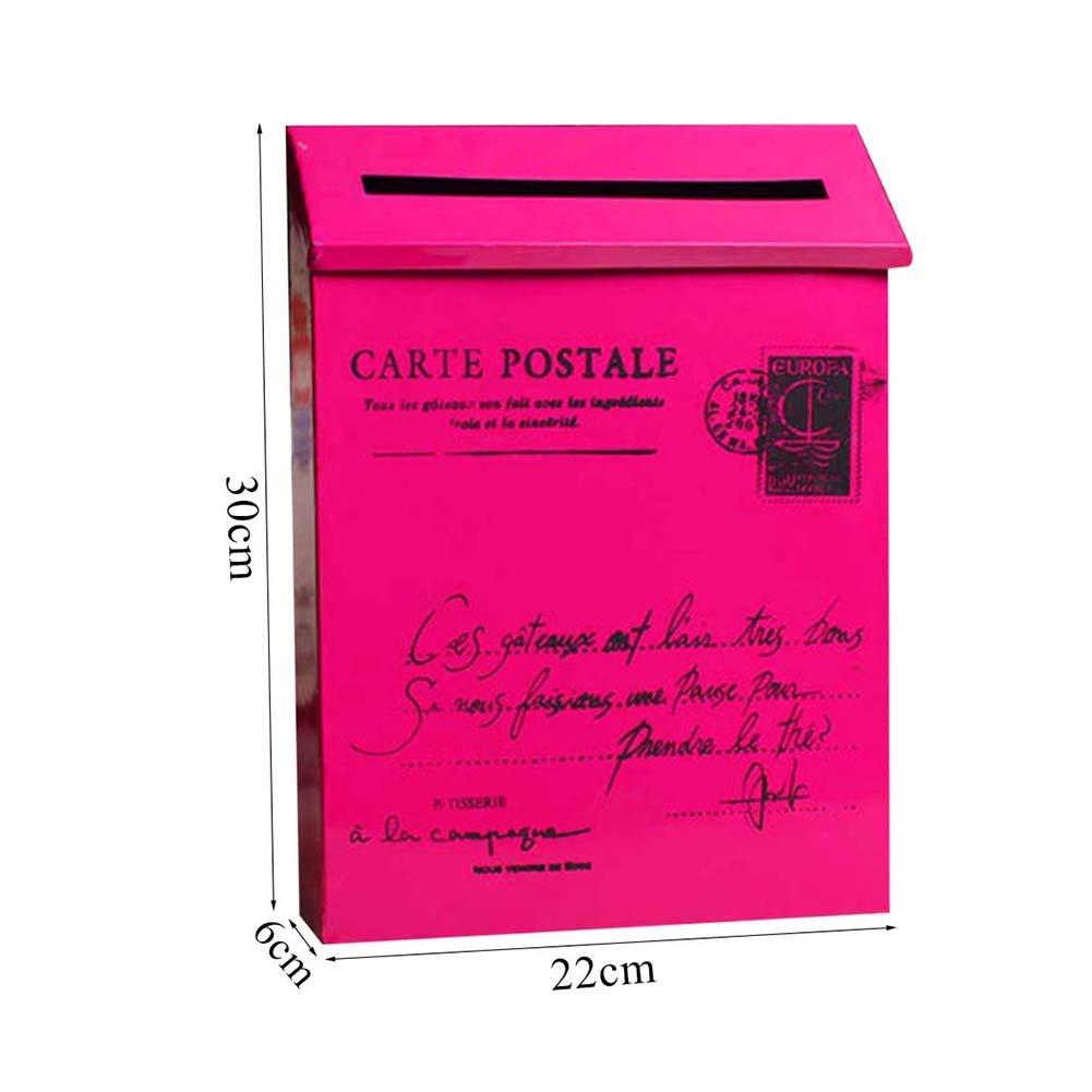 Junda Decorative Mailbox Letter Post Box, Countryside Retro & Wall Mounted, Iron Made and Waterproof, Multicolored by Junda (Image #4)