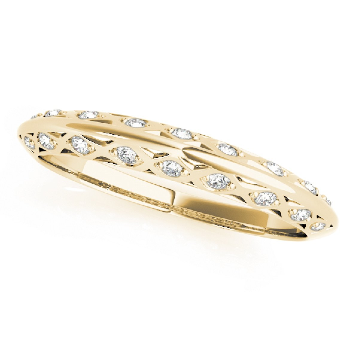 0.10 Ct. Ctw Diamond Wedding Band In 14K Solid Yellow Gold by MauliJewels