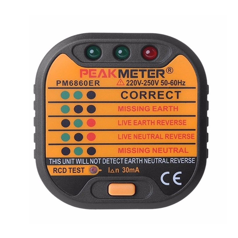 Automatic Electric Socket Tester Outlet Tester Polarity Check Meter Neutral Live Earth Wire Testing with UK Plug Konesky