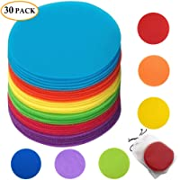 Carpet Spots Hook and Loop Circles Carpet Floor Spots Rug Markers for Teacher Classroom Student Kid Preschool Kindergarten Coaches with Storage Bag Set 30 Pack (30 Pack)
