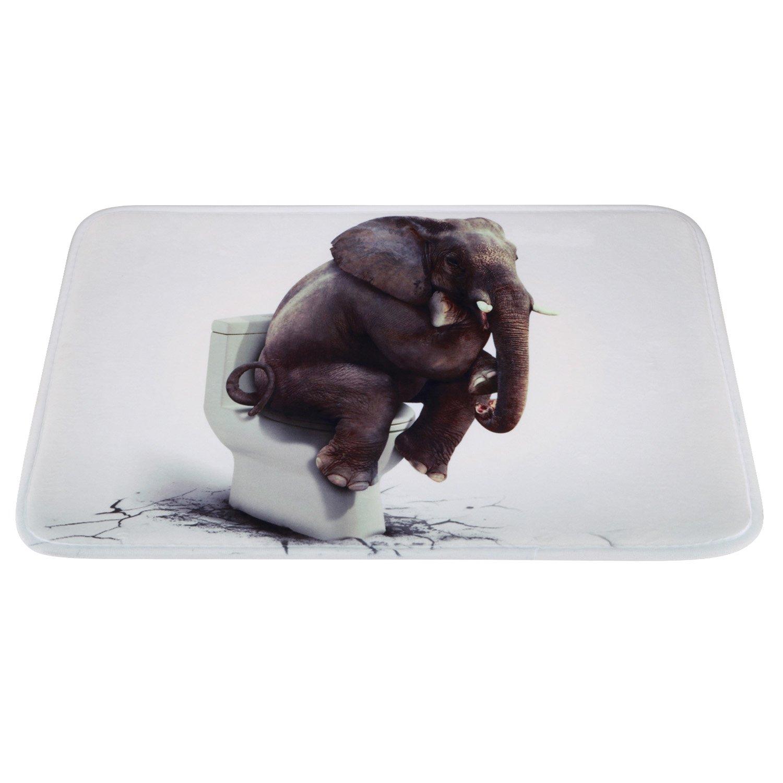 Non-Slip Large Bathroom Mat, Soft Funny Elephant Thinker Bath Rug for Children Kids Bedroom Living Room 23.2''x15.4''--Funny Elephant Thinker by Oninaa (Image #1)