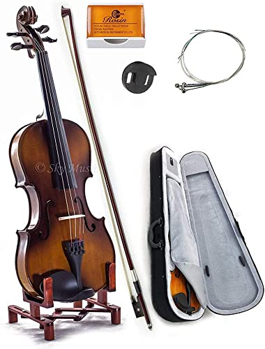Lightweight Case+Extra Bow SKY 1//4 Quarter Size Solid Wood Violin w Rosin