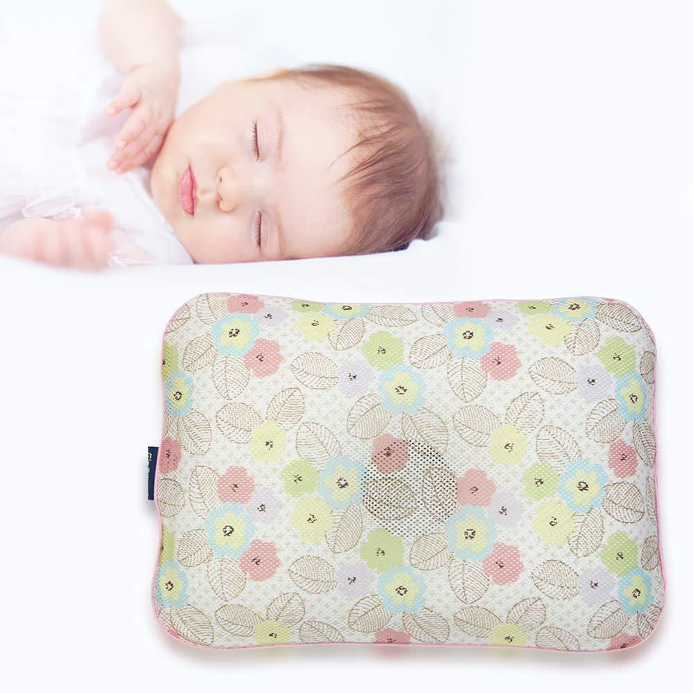 Gio Pillow 3D Air Mesh Baby Pillow, Head Shaping Pillow, Flat Head Syndrome Prevention [Bandi Flower/Medium]