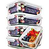 [5-Pack] Glass Meal Prep Containers - Food Storage Container Set with Airtight Locking Lids for Portion Control - BPA-free, Microwave, Freezer, Oven and Dishwasher Safe Reusable Lunch Boxes [29 ounce]