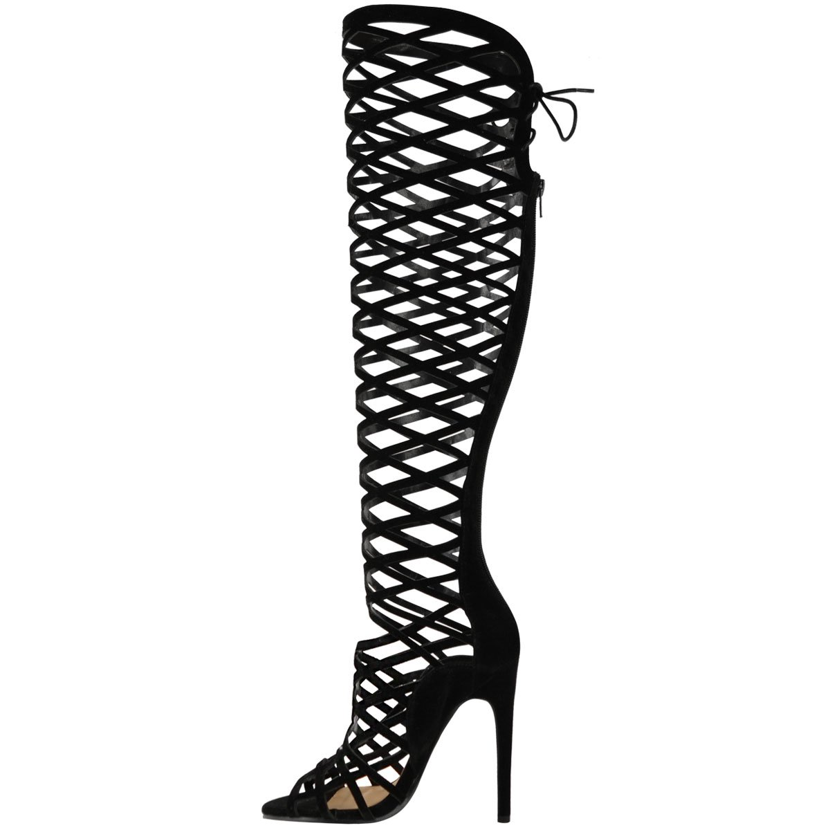 f1266e480e2 Fashion Thirsty Womens Cut Out Lace Knee High Heel Boots Gladiator Sandals  Strappy Size