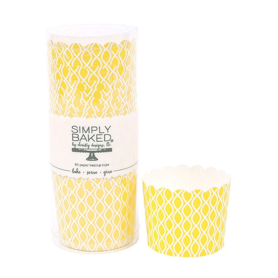 Simply Baked Large Paper Baking Cup, Yellow Wave, 500-Pack, Disposable & Oven-safe