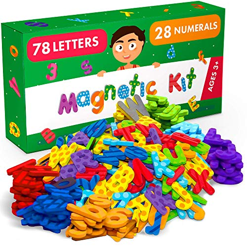 X-bet MAGNET Premium Alphabet Magnets Gift Set - 106 PCs Magnetic Letters and Numbers for Fridge and Dry Erase Board - Foam 123 ABC Alphabet Magnets - Best Educational Toy for Preschool Learning
