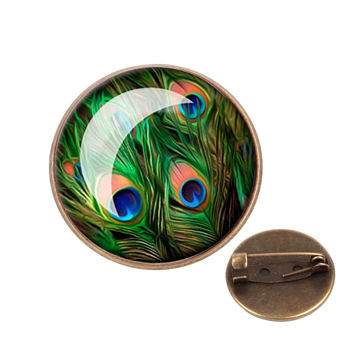 Pinback Buttons Badges Pins Green Peacock Eyes Feather Lapel Pin Brooch Clip Trendy Accessory Jacket T-Shirt Bag Hat Shoe