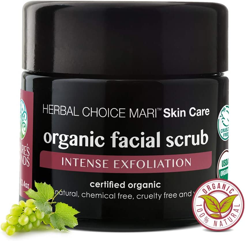 Organic Facial Scrub by Herbal Choice Mari (3.4 Fl Oz Glass Bottle) - Intense Exfoliating Face Wash with Brown Sugar, Sea Salt, Shea Butter, and Grape Seed - for Dry Skin - No Toxic Chemicals