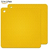 HsuiBhs Silicone Pot Holders 2 Pack, Square Silicone Hot Pads, Heat Insulation Table Mats For Family Use - HB-GJD/Light yellow/2 Pcs