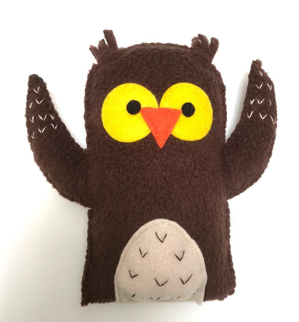 hand sewn /& unique BABY SAFE soft fleece OWL softie