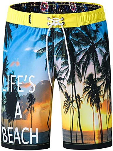 F/_Gotal Mens Swim Trunks Quick Dry Board Shorts Swimming Shorts with Pockets Long Length Beach Bathing Suits Swimwear