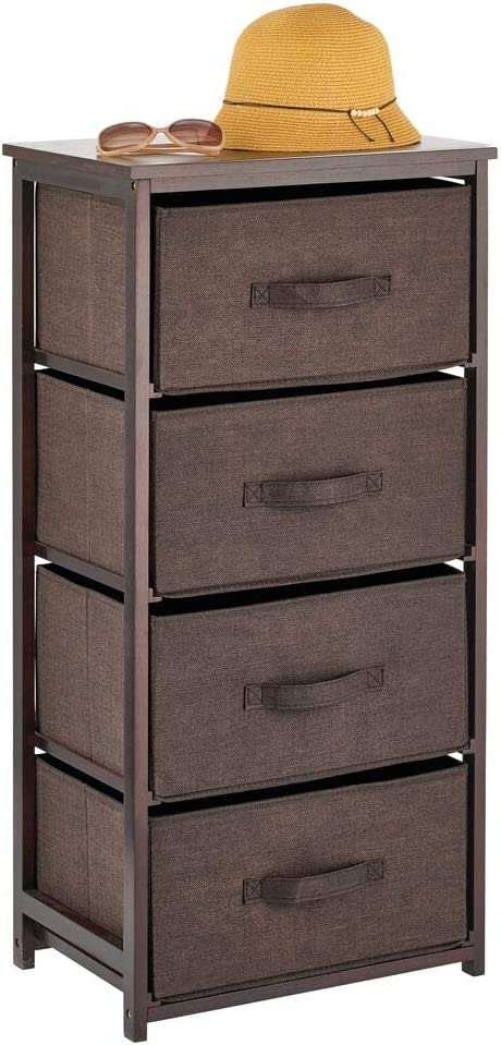 mDesign Vertical Dresser Storage Tower - 4 Drawers - Sturdy Bamboo Frame with Easy Pull Fabric Bins - Multi-Bin Organizer for Bedroom, Hallway, Entryway, Closets - Espresso/Brown