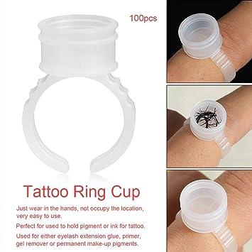 100/200/500 unids Desechable Ceja Tatuaje Tinta Anillos Pigmentos ...