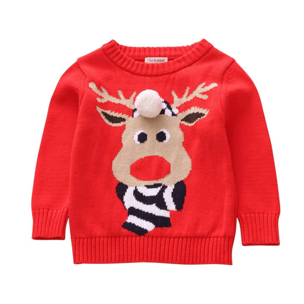 Maglione di Natale per Bambini Bambino Pullover Renna Natalizi Maglieria Costumi