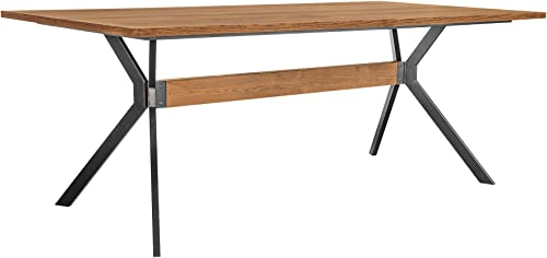 Armen Living Nevada Rustic Oak Wood Trestle Base Dining Table