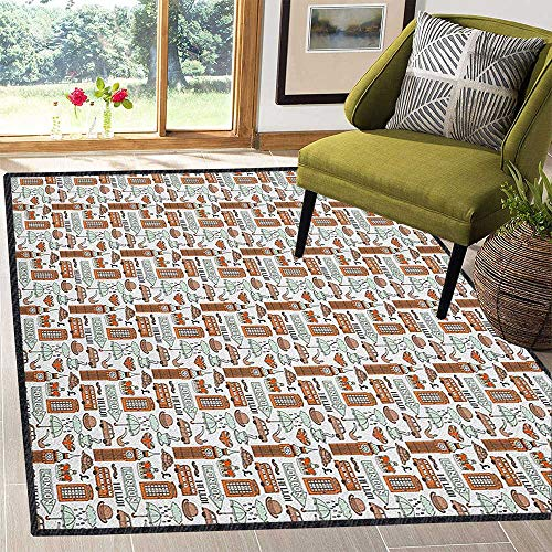 London Colorful Area Rug,Traditional City Symbols and Landmarks Retro Collection Big Ben Rain for Dining Room Bedroom Pale Orange Tan Pale Blue 59