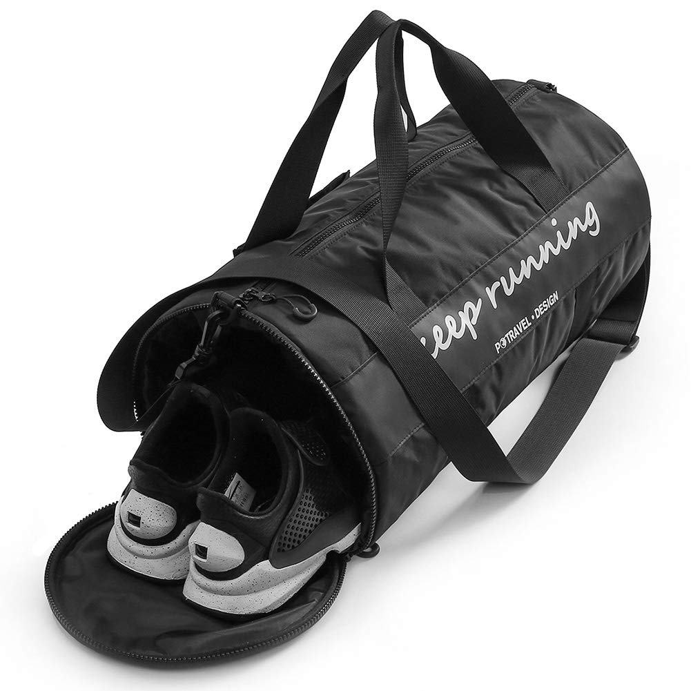 Gym Bag with Shoes Compartment,Gym Duffle Bag Waterproof Travel Weekender Bag for Men Women Sports Workout Duffel Swim Gym Bag with Dry Wet Pocket 35L Black