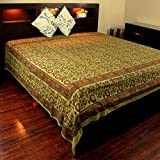 Homestead Handmade 100% Cotton Block Print Floral Indian Tapestry Bedspread Tablecloth Throw Olive Green Twin