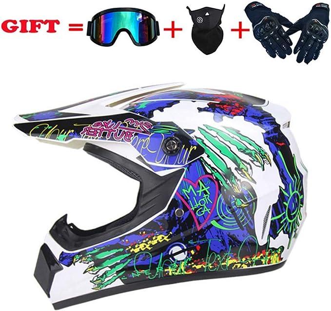 5 St/ück A,Small Motorradhelm Kinder Motorrad Crosshelm mit Brille NKFDLY Kinder Crosshelm Motorradhelm Motocross