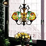 Makenier Tiffany Style Stained Glass Butterfly 3 Arms Wrought Iron Chandelier Review