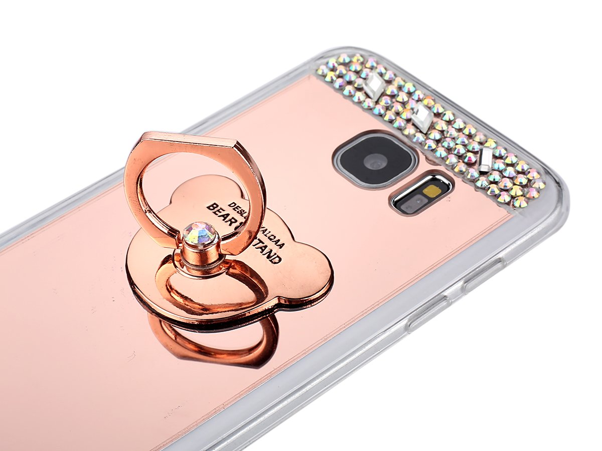 Surakey Cover Galaxy J3//J3 2016 Effetto Specchio Silicone Morbido Cover con Strass Diamante Glitter Lusso Mirror Case Ultra Sottile Protettiva Custodia per Samsung Galaxy J3//J3 2016,Bling Oro Rosa