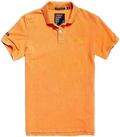 Superdry Vintage Destroy Pique Polo Hombre Sunset Orange S: Amazon ...
