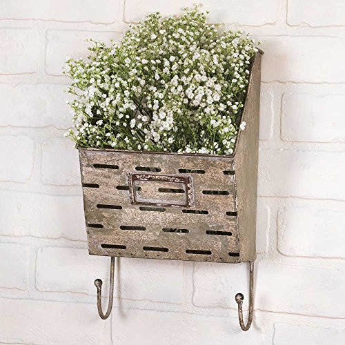 Vintage Industrial Farmhouse Perforated Wall Caddy with Hooks
