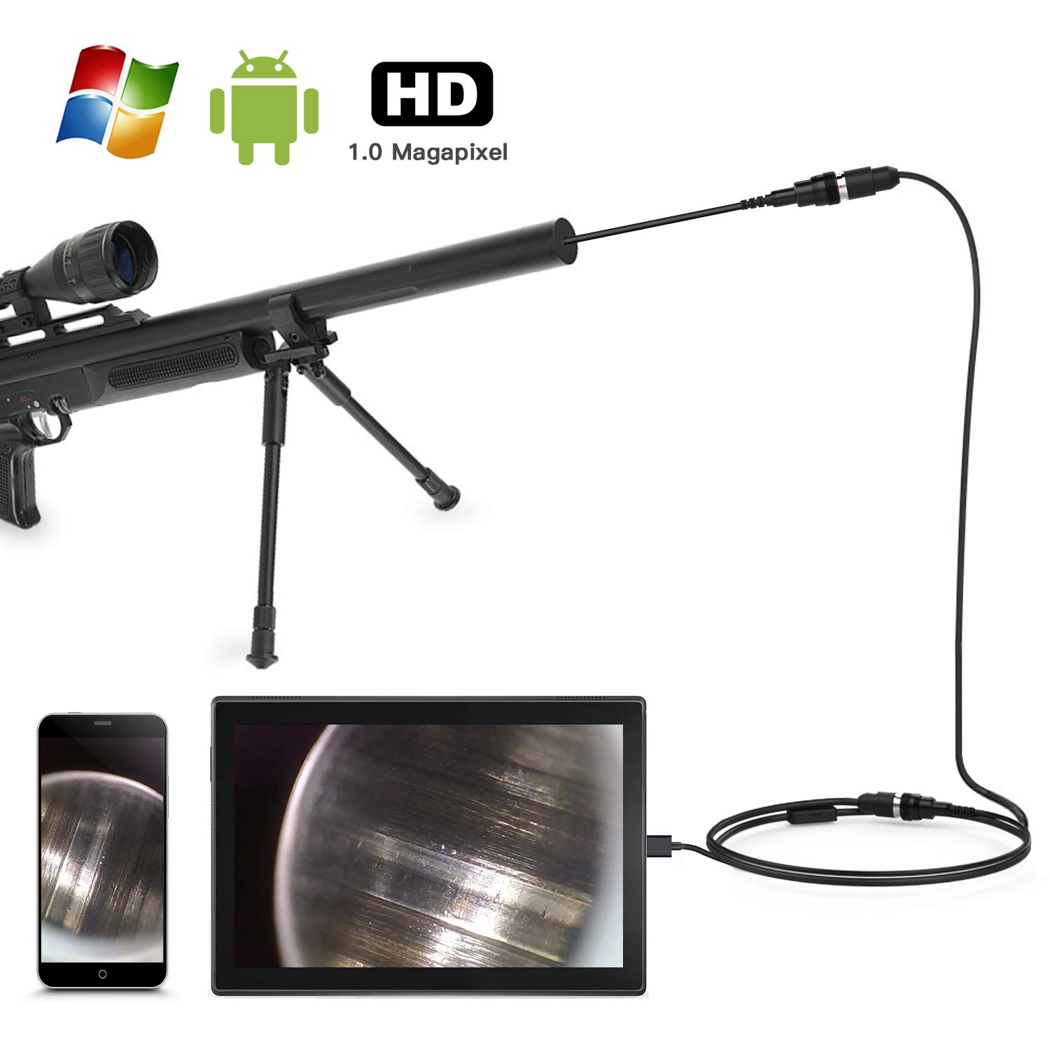 Teslong Rifle Borescope, Short Focus Gun Barrel Camera with Side-View Mirror.195 inches Caliber for All Barrel Inspection, Compatibale with Android, Mac, Windows, Linux, 1.0 Megapixel by Teslong