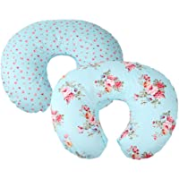 Floral Nursing Pillow Cover Set 2 Pack 100% Cotton Soft Hypoallergenic Slipcovers for Breastfeeding Moms Baby Girl Boy Fits On Infant Nursing Pillow by Knlpruhk