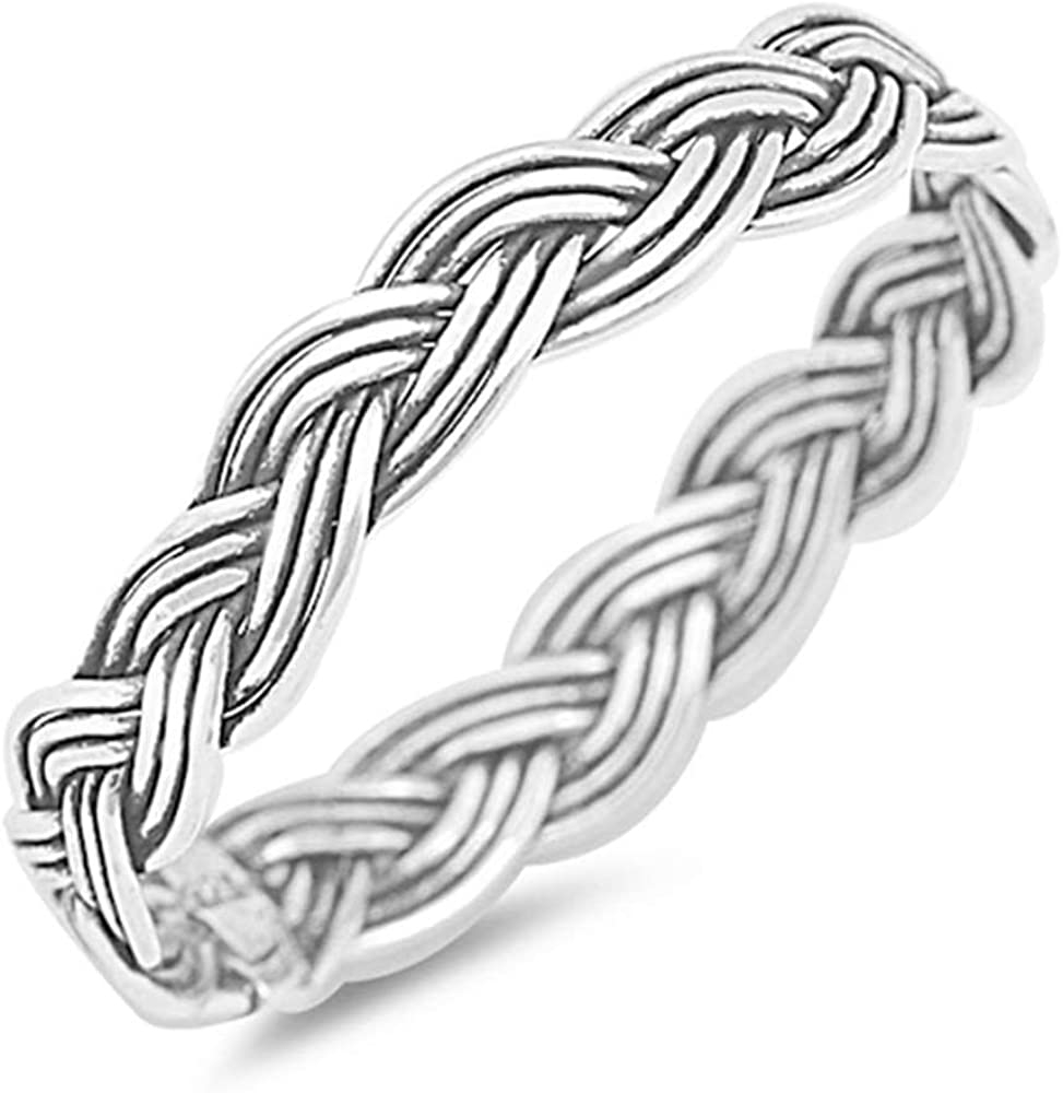 Brightt Braided Celtic Band .925 Sterling Silver Ring Sizes 4-11