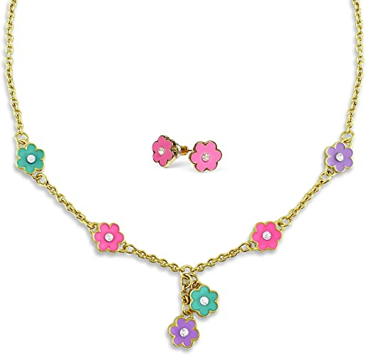 A Touch of Dazzle Necklace and Earrings Set 18k Gold Plated | Flower Necklace and Earrings for Women and Teens - Dainty Jewelry -16 Inch Necklaces for Women, Tweens and Teens