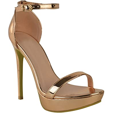 7ce81a9a24c7b5 Sandales à talons aiguilles - plateforme - sexy/soirée - femme - Chrome  rose doré