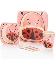 all Kids United Kindergeschirr-Set aus Bambus-Geschirr für Kinder Kindergeschirrset aus Bambus Set 5-teilig 9 Motive