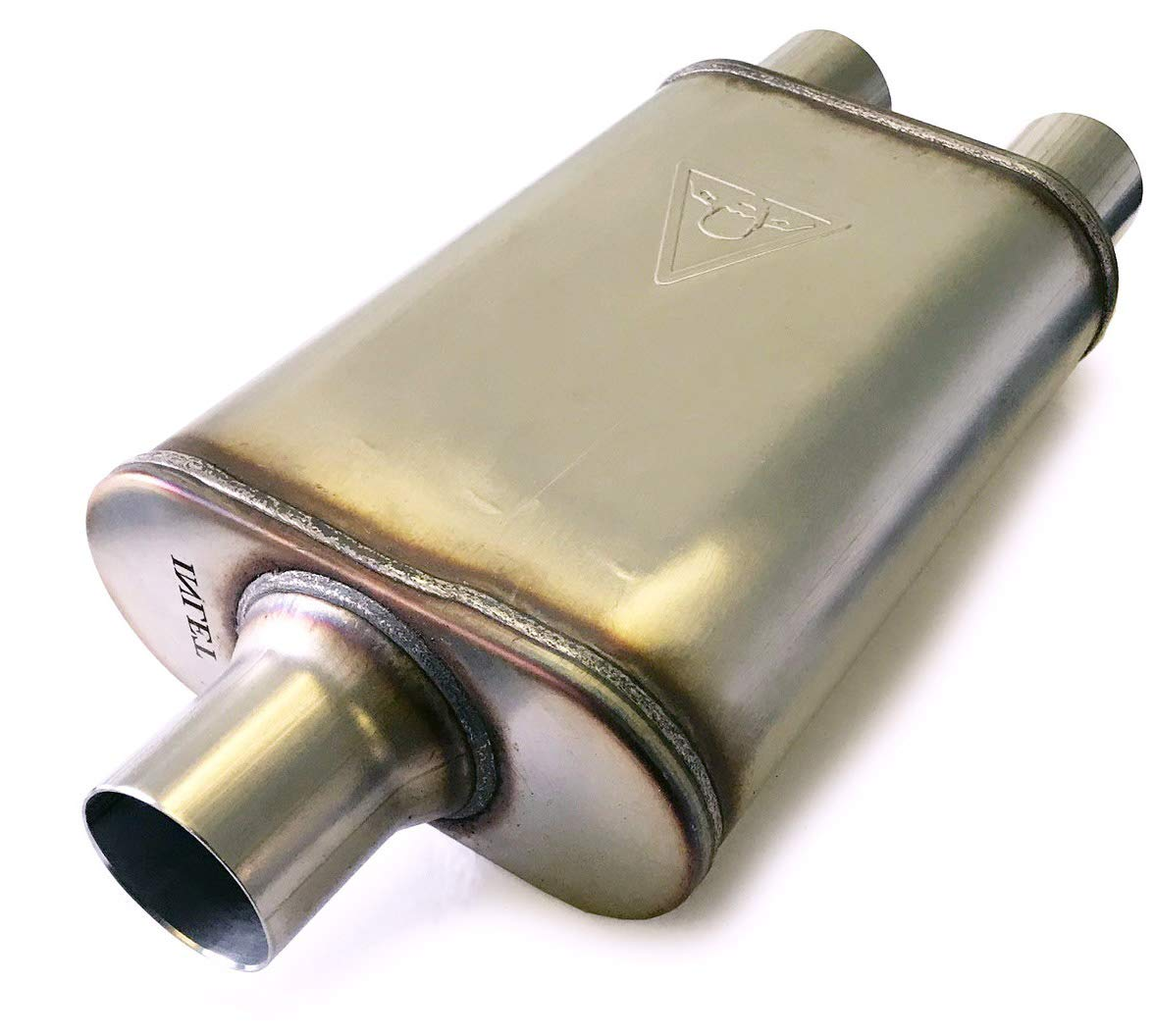 Colt Exhaust Dual Outlet Single Chamber Muffler (2.5'' ID Center / 2.5'' ID Dual Outlet)