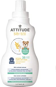 ATTITUDE Sensitive Skin, Hypoallergenic Baby Fabric Softener, Fragrance Free, 33.8 Fluid Ounce