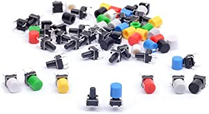 Cylewet 35Pcs 6×6×9mm Tactile Tact Push Button Switch Micro Switch Touch Switch with Button Caps of 7 Color for Arduino (Pack of 35) CYT1052