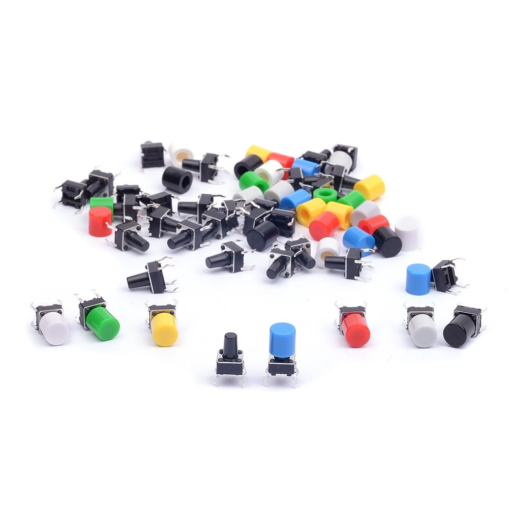 Cylewet 35Pcs 6× 6× 9mm Tactile Tact Push Button Switch Micro Switch Touch Switch with Button Caps of 7 color for Arduino (Pack of 35) CLW1052 Qianxin