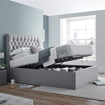 Tremendous Happy Beds Ottoman Bed Wilson Grey Fabric Storage Bed Creativecarmelina Interior Chair Design Creativecarmelinacom