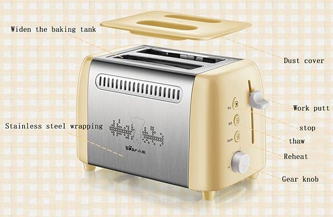 Bestting 2 Slice Retro Tostadora • 2 ranuras • Ampliar la bandeja de pan • 680 W • Función de descongelación • Descongelación y recalentamiento • Inoxidable ...