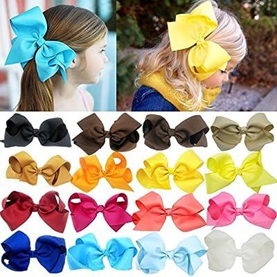 "DEEKA 10 PCS Multi-colored 2"" Hand-made Grosgrain Ribbon Hair Bow Alligator Clips Hair Accessories for Little Girls"