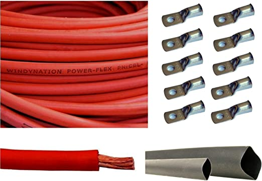 3 Feet Heat Shrink Tubing WindyNation WNI 2 AWG 2 Gauge 10 Feet Black 5pcs of 5//16 /& 5pcs 3//8 Copper Cable Lug Terminal Connectors 10 Feet Red Battery Welding Pure Copper Ultra Flexible Cable