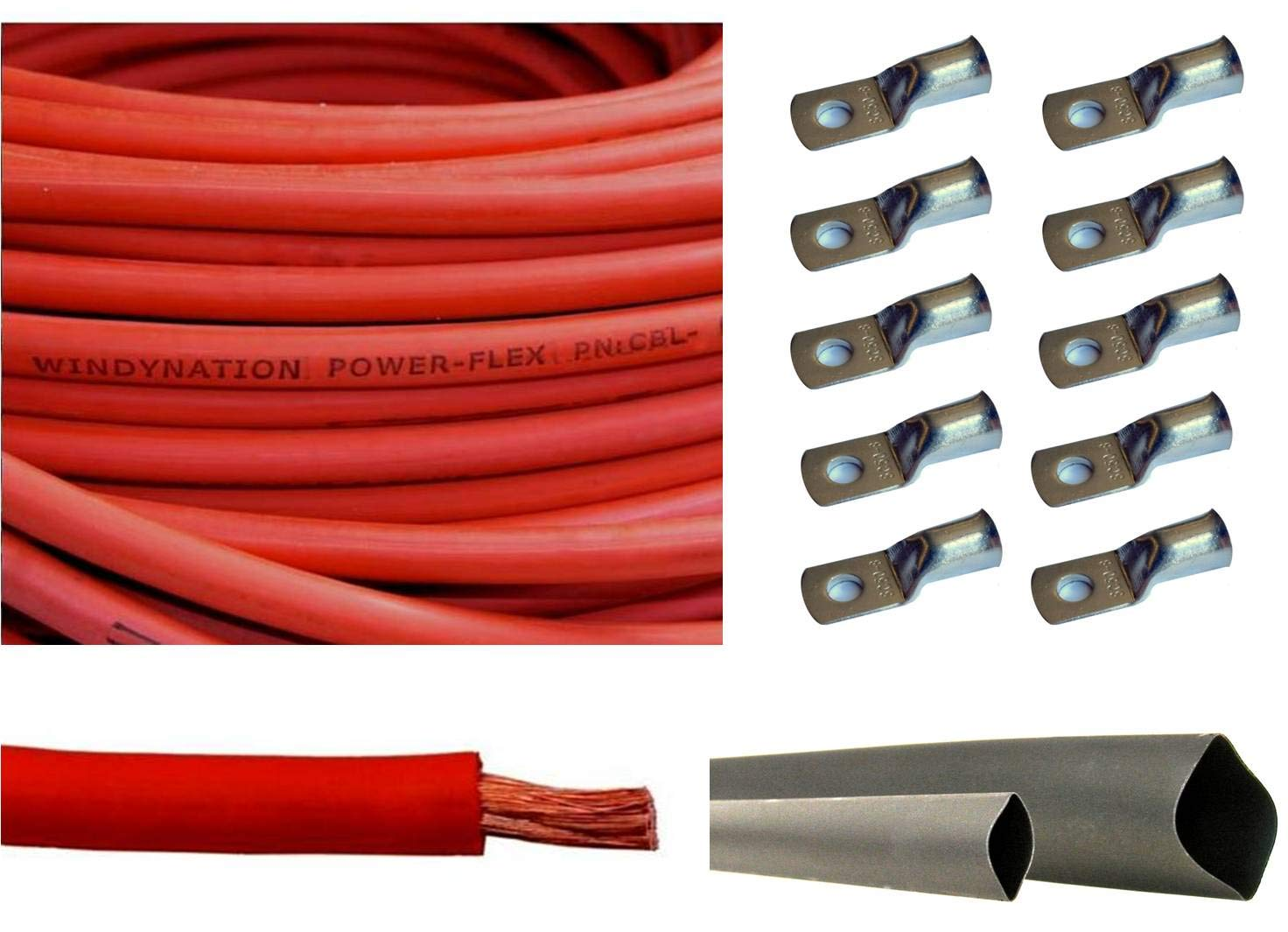 3 Feet Heat Shrink Tubing 5pcs of 5//16 /& 5pcs 3//8 Copper Cable Lug Terminal Connectors WNI 6 AWG 6 Gauge 30 Feet Red Battery Welding Pure Copper Ultra Flexible Cable