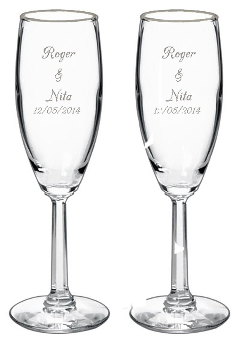 Gifts Infinity® 2 Engraved Wedding Flutes Personalized Toasting Glasses