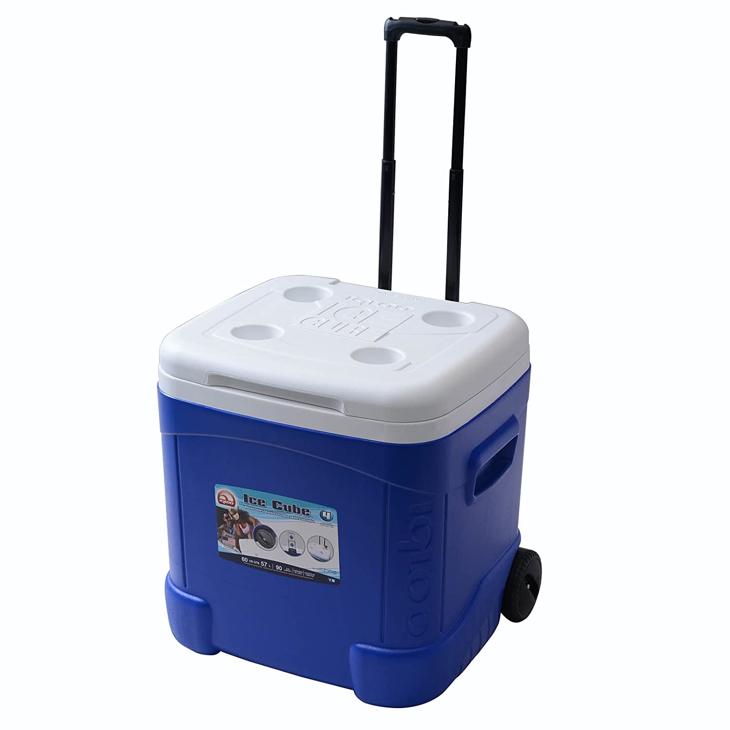 Igloo Ice Cube Roller Cooler (60-Quart, Ocean Blue)  Best Small Coolers