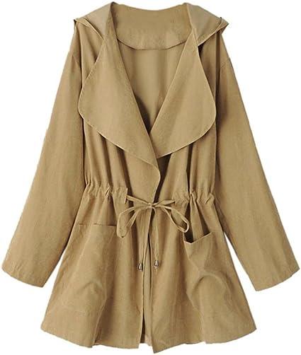 Trench coat à capuche Femmes, Toamen Veste Parka coupe vent Poches Cardigan Manteau mince Manche longue Mode Décontractée (XL, Kaki)