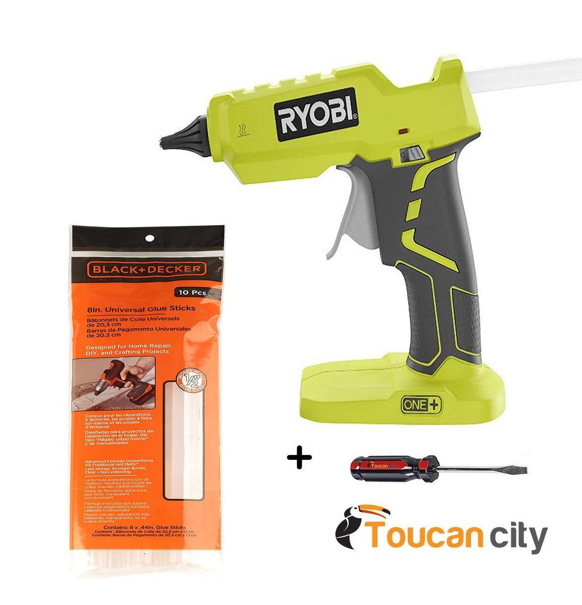 Toucan City Screwdriver + Ryobi 18-Volt ONE+ Glue Gun P305 + 8 in. x 7/16 in. Dia All Purpose Full Size Glue Sticks (10-Pcs) by Toucan City