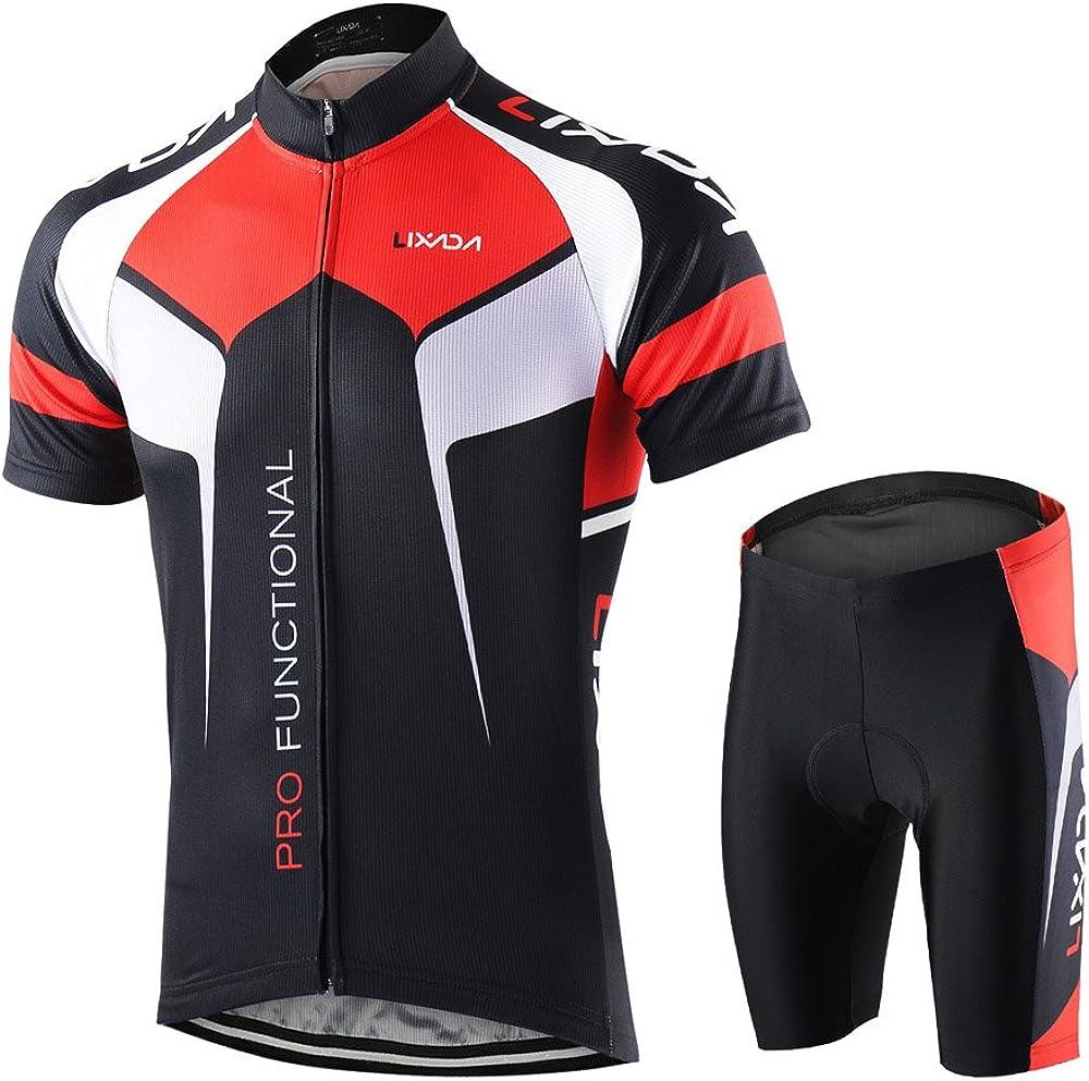 Lixada Men's Cycling Jersey Set Bicycle Short Sleeve Set Quick-Dry Breathable Shirt+3D Cushion Shorts Padded Pants/Bib Short: Clothing