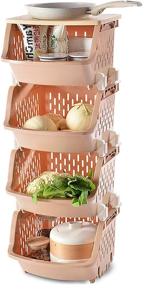 Beige EXCELLENT HOUSEWARES 3 Tier Plastic Stacking Storage Basket Trolley on Wheels