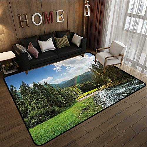 Rugs,Lake House Decor Collection,Riverside Flowing Mountain with Towering Pine Trees and Rainbow Grass Clouds Sunny Day,Multi 78.7